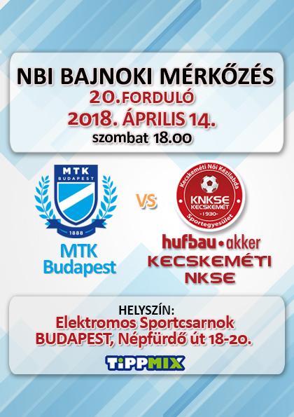 NB1 Bajnoki Mérkőzés – MTK Budapest – Hufbau-Akker Kecskeméti NKSE